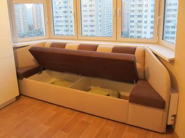 Эркерные диваны с ящиком на заказ