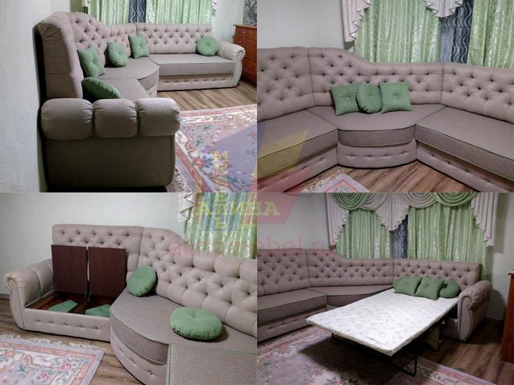 Угловой эркерный диван для гостиной на заказ