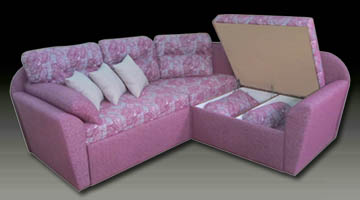 Радиусный диван с ящиком