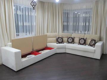 Эркерный диван для гостиной с ящиком
