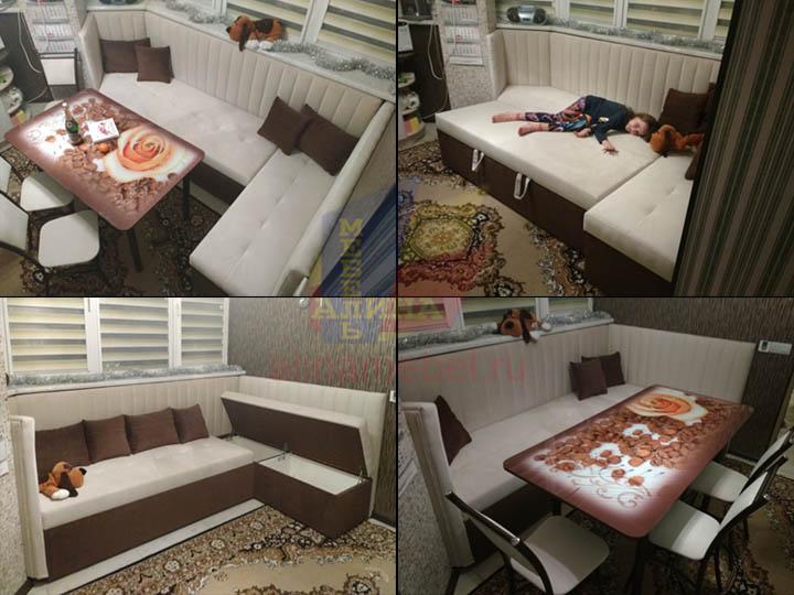Мягкая мебель для нестандартной кухни с эркером