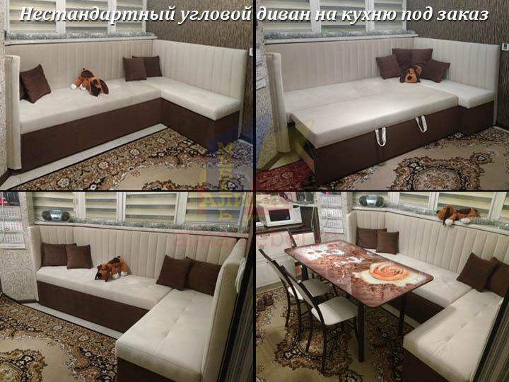 Нестандартный угловой диван для кухни с эркером