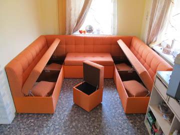 П-образные диваны с ящиками