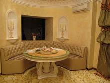 Радиусный диван для эркерной кухни